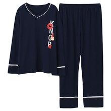 Plus Size 5XL Sleep Lounge Pajama Long Sleeve Top + Long Pant Woman Pajama Set Cartoon Print Pyjamas Cotton Sleepwear For Women