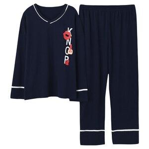 Image 1 - Plus Size 5XL Sleep Lounge Pajama Long Sleeve Top + Long Pant Woman Pajama Set Cartoon Print Pyjamas Cotton Sleepwear For Women