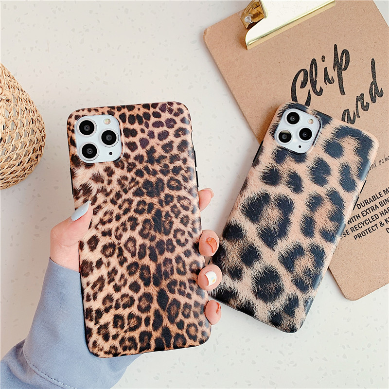 <font><b>Sexy</b></font> Leopard Prain Shockproof IMD Matte Soft Silicone <font><b>Case</b></font> For <font><b>iPhone</b></font> 6s <font><b>7</b></font> 8 <font><b>Plus</b></font> X XR XS MAX 11 Pro Max 11 Protect Black Cover image