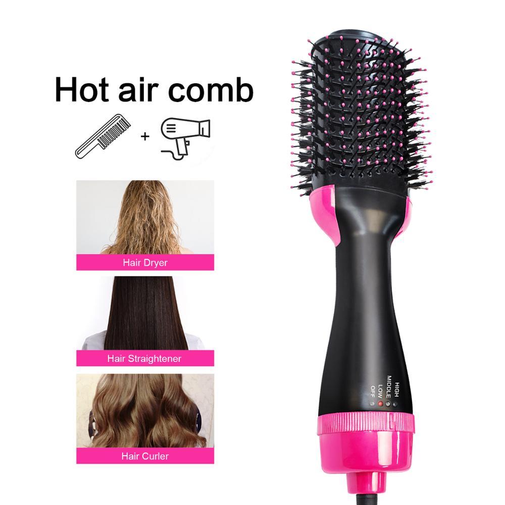 Hot Air Comb Hair Dryer Straightening Curling Brush 3 in 1 Multifunctional Hair Straightener Curler Hair Salon Styling Tools