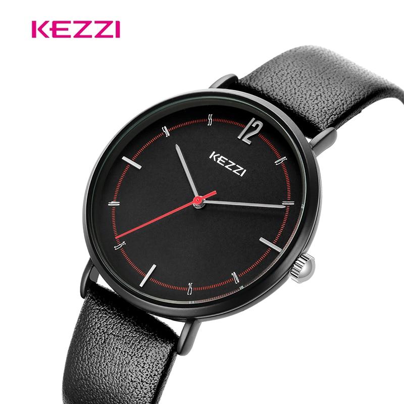 KEZZI Couple Watch Lady Simple Quartz Watch Men Fashion Waterproof Leather Wristwatch Reloj Pareja Hombre Y Mujer