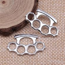 Charms Brass Knuckles Necklace Jewelry-Making Diy Bracelet Silver-Color Antique 10pcs