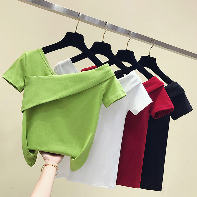 Patchwork V-Neck T Shirt Women Tshirt Cotton 2020 Slim Top Summer Short Sleeve Womens Clothing T-Shirt Female Tee Shirt Femme