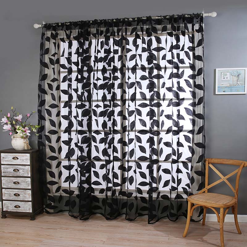 European Curtains Panel Flower Leaf Valances Curtain Window Screening Customize Finished Products Window Treatment Sheer Black