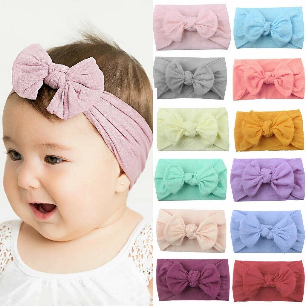 Toddler Girls Bunny Kids Turban Knot Rabbit Headband Bow Hair Bands Head Wrap