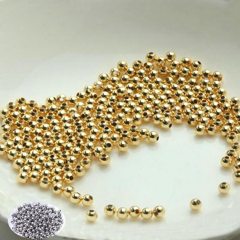 2 мм 2,5 мм 4 мм 6 мм из 14-каратного золота с Цвет с латунным покрытием круглый шар бусины Spacer Бусины Diy ювелирных изделий Аксессуары оптом