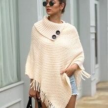 Womens Sweater Cloak Knitted Women Clothes Winter Streetwear Tassel Lady Office Loose Casual Turtleneck Sweaters