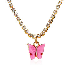 Sweet Acrylic Color Butterfly Necklace for Women Long Wild Clavicle Chain Personalized Pendant Refined Stylish Mujer Gift цена 2017