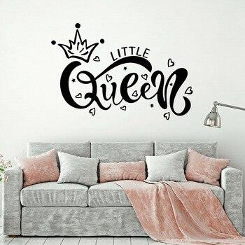 Etiqueta de la pared del vinilo de la pequeña reina de la inscripción de la habitación de la niña del bebé pegatinas de la pared del dormitorio decoración moderna del hogar W006