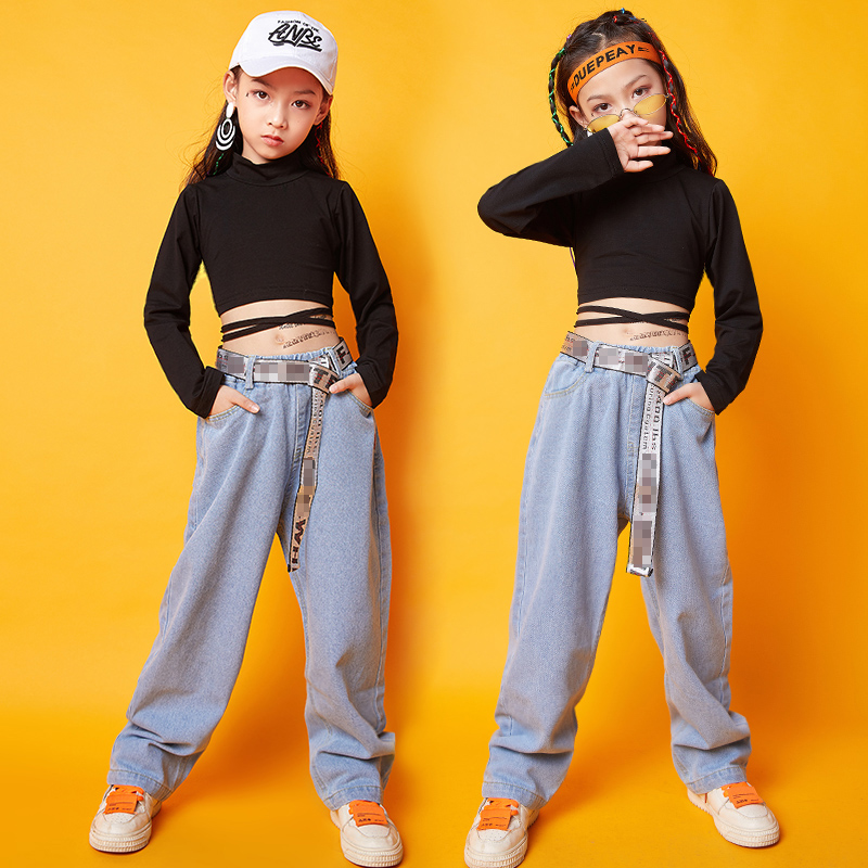 Hip Hop Costumes For Girls Slim Jazz Street Dance Practice Clothes Long Sleeve Kids Rave Outfit Performance Clothing DC2950