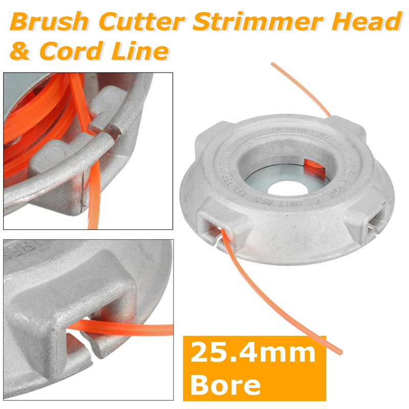 Universal Aluminium Alloy Nylon Brush Mower Bump Spool Grass Trimmer Line Cutter Head Thread Line String Saw Grass Brush Mower