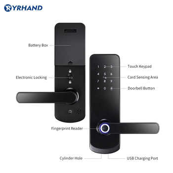 Fingerprit Electronic Door Lock with APP WIFI Smart Touch Screen Lock Digital Safe Code Keypad Deadbolt For Home Hotel Apartment
