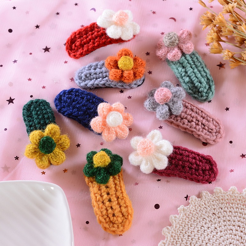 Cute Kids Winter Wool Knitting Crochet Flower Snap Hair Clips Knitting Hairpins Barrettes Hairpins For Girls Accessories