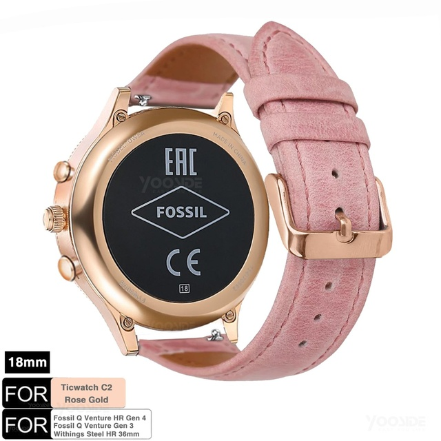 for Fossil Venture Watch Band 18mm Quick Release Classic Leather Rose Clasp Women Wrist Strap for Fossil Q Venture Gen 3/Gen 4