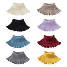 Scarf-Wrap Detachable Turtleneck Fake-Collar Ribbed Knitted Ruffles Solid-Color Women
