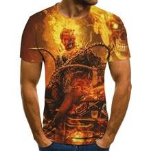 Mens Skull T shirts Fashion Summer Short Sleeve Ghost Rider Cool T-shirt 3D Skull Print Tops Rock Fire Skull Tshirt Men clothing