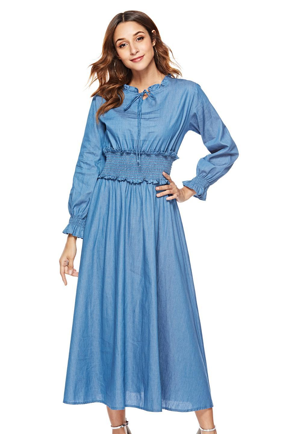 Photo Shoot European And American-Style Long Cowboy Waist Hugging Dress 1845