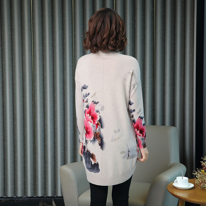 Women Autumn Cashmere Vintage Floral Sweater Elegant Middle Aged Mother Wool Sweater Pullover - 3