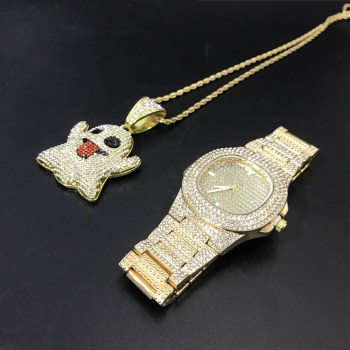 Luxury Men Watch & Necklace Combo Set Men Hip Hop Gold Silver Color Necklace Chain Ice Out Cuban Hip Hop Jewerly For Men