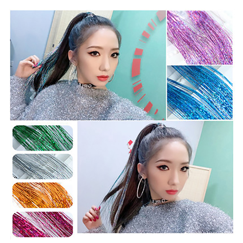 Colorful Shiny Colored Hair Extension Hair Accessories Rayon Gold Thread Hair Accessories Fashion Girls Must Have YYOUFU