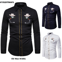 CYXZFTROFL New Hot Mens Slim Printed Lapel Casual Shirt Long-sleeved Large Size Cardigan Street Fashion S-XXL
