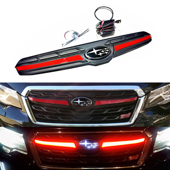1 Set Front Grille Logo With Intelligent LED Flow Lighting For Subaru Forester 16'-18' Cars