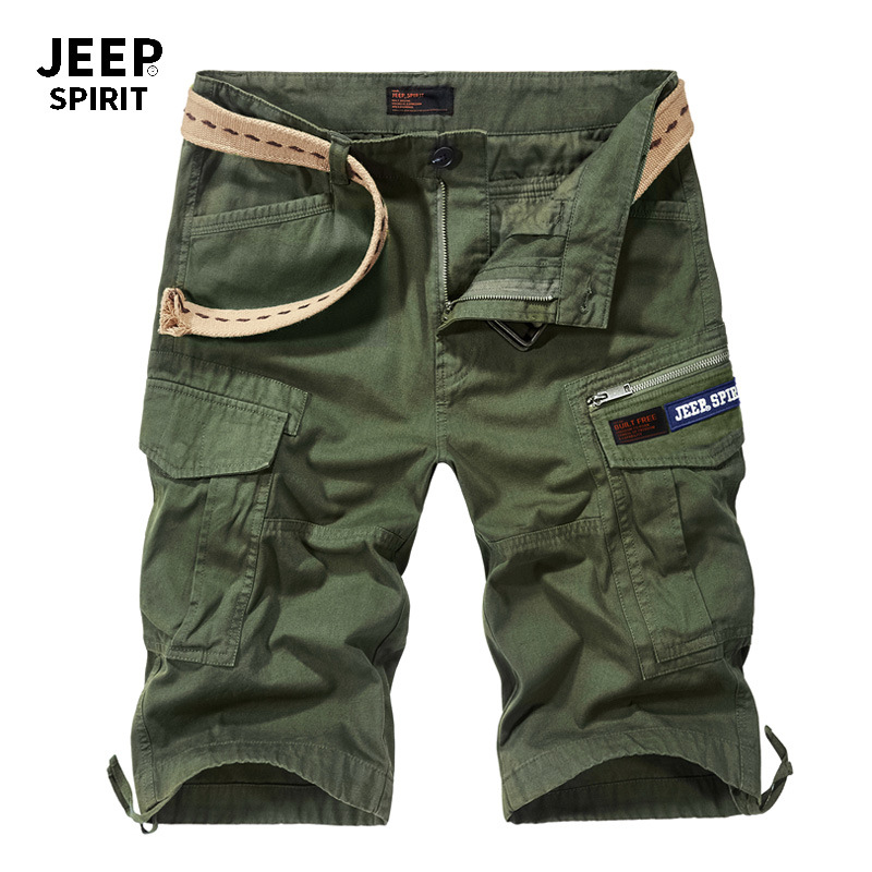 JEEP SPIRIT Summer Cargo Short Men Casual Loose Military Mens Shorts With Many Pockets Knee Length Straight Short Male No Belt