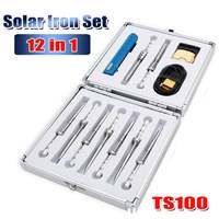 Multifuctional TS100 Electric Soldering Iron Adjustable Temperature Digital Solder Station OLED Display+9 Tips+XT60 Cable+Holder