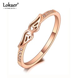 Lokaer Fashion Titanium Stainless Steel Double Angel Wings Rings Luxury Rose Gold CZ Crystal Party Ring For Women Girls R20033