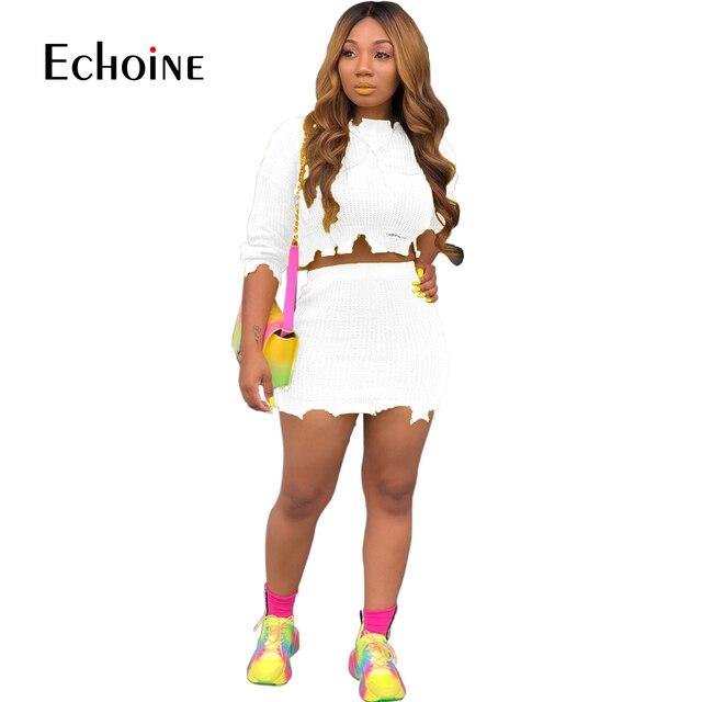 אופנה סתיו חורף סוודר שתי חתיכה להגדיר נשים ארוך שרוול סרוג יבול למעלה מיני חצאית מקרית חליפות Streetwear סטים תואמים