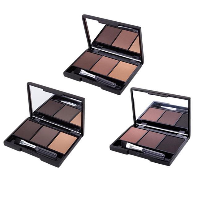 3 Color Eyebrow Powder Palette Cosmetic Brand Eye Brow Enhancer Professional Waterproof Makeup Eye Shadow With Brush Mirror Box 2