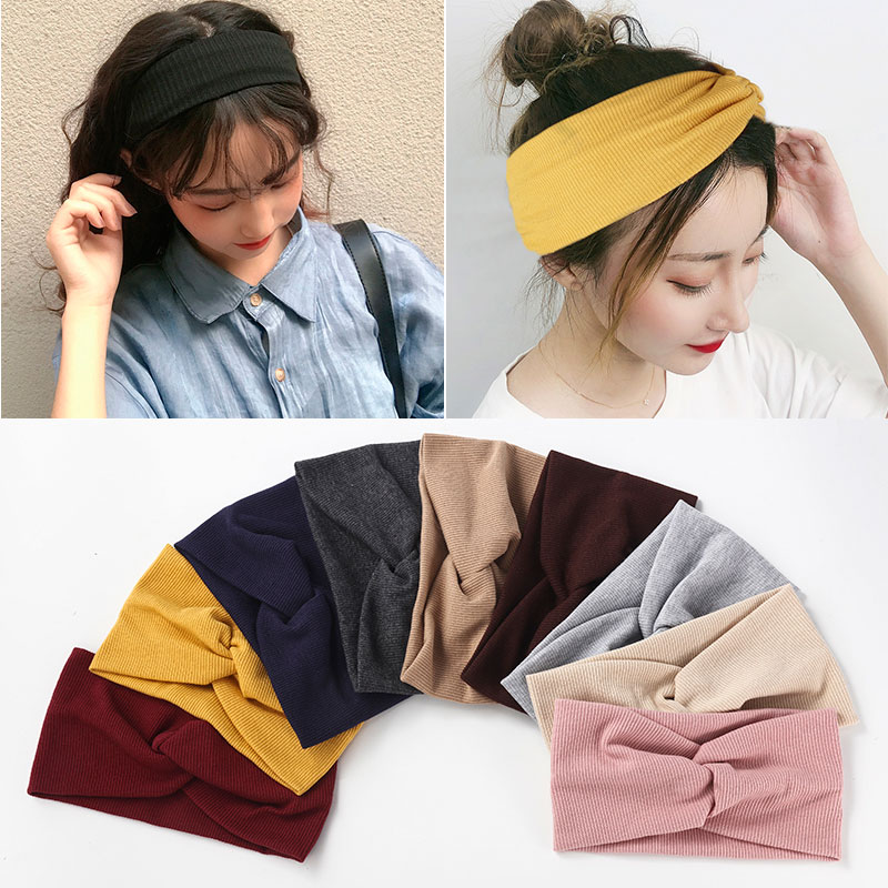 Winter Women Headband Cross Top Knot Elastic Hair Bands Soft Solid Girls Hairband Hair Accessories Twisted Knotted Headwrap