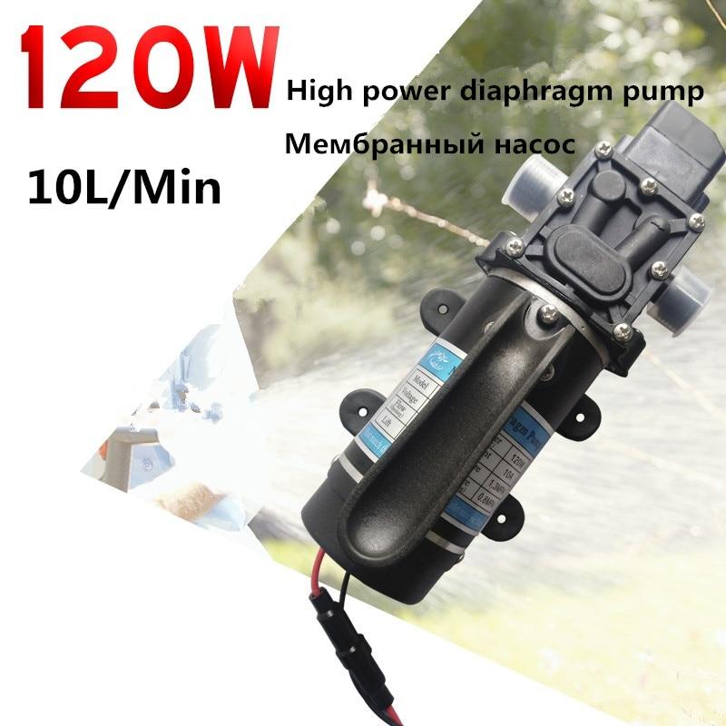 Electric Pump DC 12V 24V 120W 10L/min Electric Diaphragm Water Pump Self-Priming Pump Return Valve Pump For Garden Car Wash