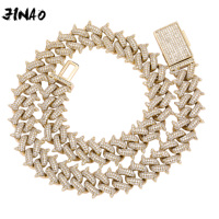JINAO New 14mm Spikes on the edges Style Jewelry Hip Hop Rock Copper Plated Gold silver Rose Gold Iced Out CZ Stone Necklace