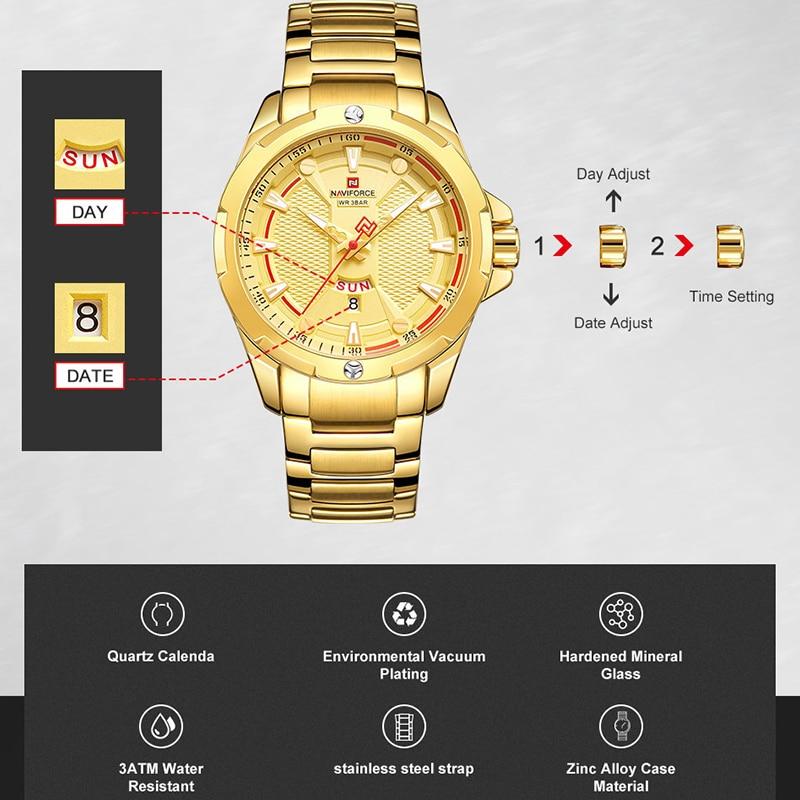 Image 3 - NAVIFORCE Military Fashion Gold Watch Men Luxury Quartz Wristwatch Sport Casual Clock Wateproof Watches Relogio Masculino 2019-in Quartz Watches from Watches
