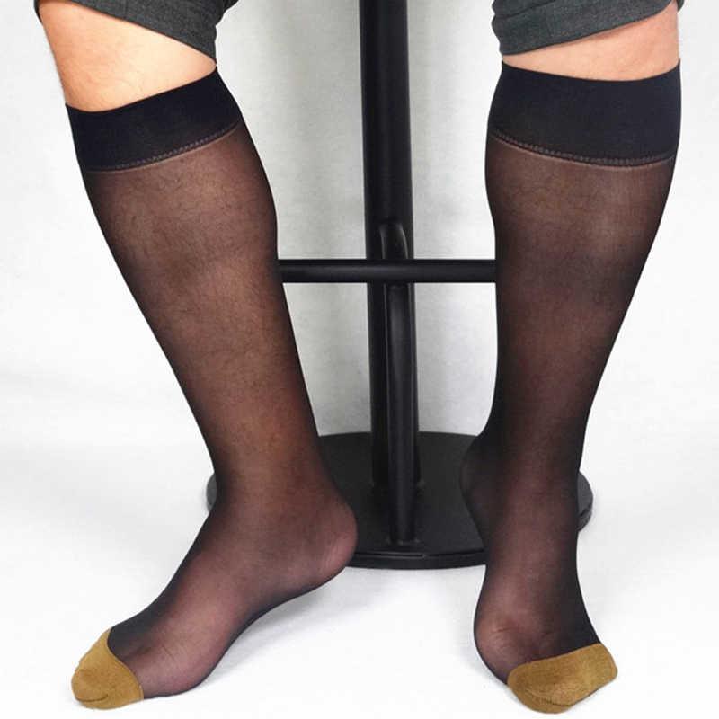 1 paar Zwart Goud Blauw Mannen Brede Gestreepte Teen Sheer Jurk Sokken Zijde Hoge Dunne Ademende Sokken Sexy Softy Blazer accessoire Sokken