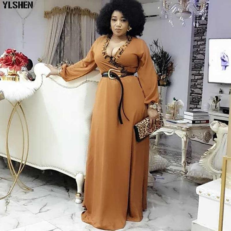 Long Maxi Dress African Dresses For Women Clothes Africa Clothing Elegant V-neck Ankara Dresses Fashion Robe Africain Femme 2020