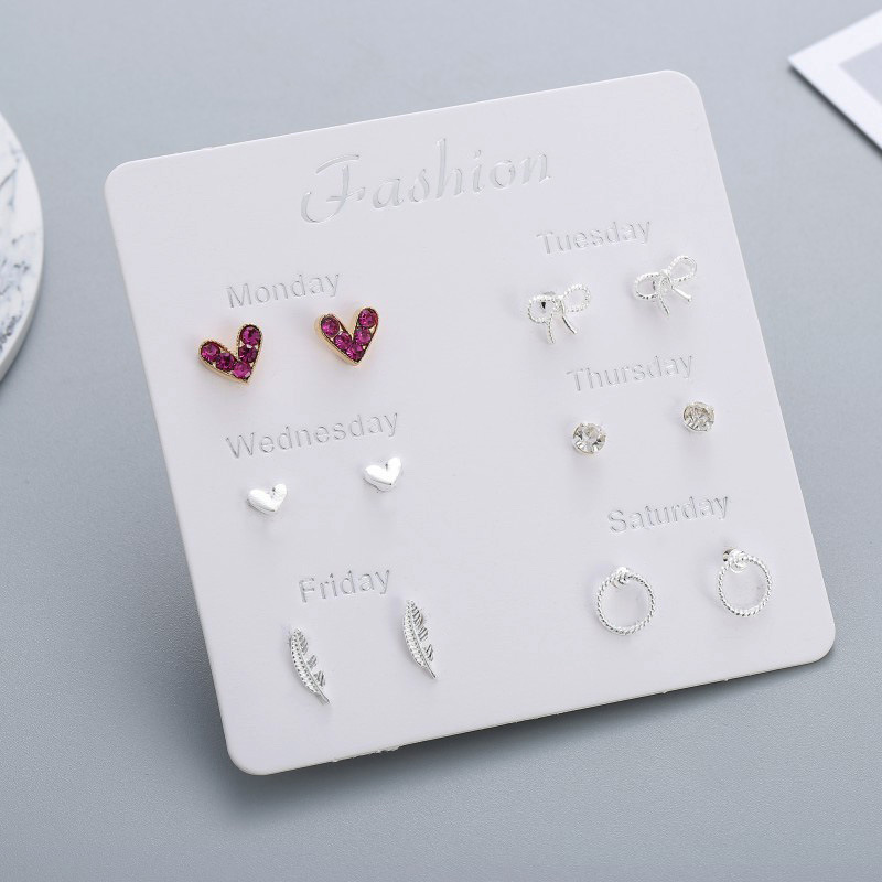 Women Heart Star Mini Earrings Set Seven Days Girl Small Square Leaf Pearl Clip on Stud Earrings Lady Korean Mini Jewelry 2020