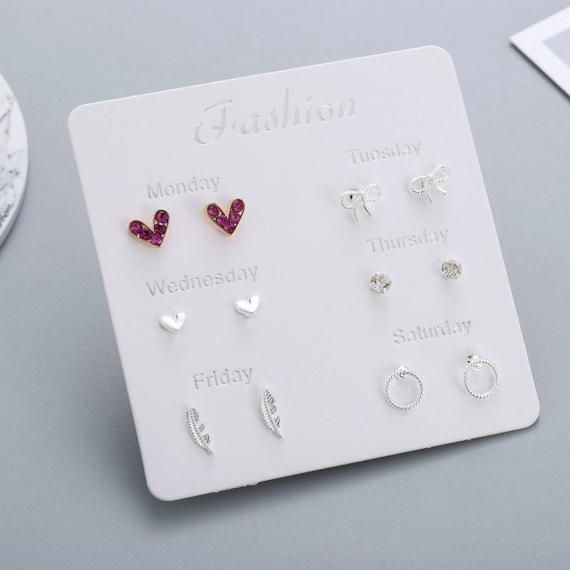 Women Heart Star Mini Earrings Set Seven Days Girl Small Square Leaf Pearl Clip on Stud Earrings Lady Korean Mini Jewelry 2020