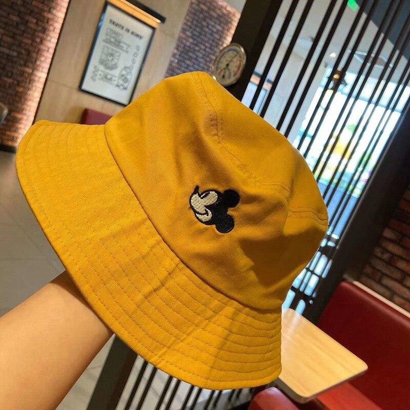 Sombreros de cubo de Mickey para mujer, sombrero de cubo de estilo coreano para mujer, gorros de algodón para mujer, sombrero de pescador para niña
