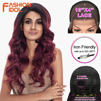 цена на FASHION IDOL Deep Wave Wig Cosplay Synthetic Wigs For Black Women Ombre Brown Wine Red 24 inch 13x6 Lace Front Wig Free Shipping