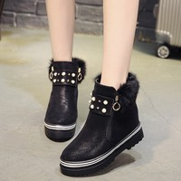 Nice New Pop Cute Fur Women Ankle Boots Comfortable Spring Autumn High Quality Shoes Woman Flat High Heels Plain Pearl Boot