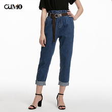 [OuMo] brand high quality waist jeans women trousers Loose leisure stretch Female 2019 new autumn
