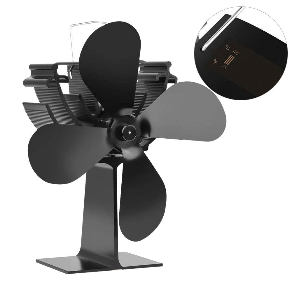Black Fireplace 4 Blade Heat Powered Stove Fan Wood Burner Ecofan Quiet Black Home Fireplace Fan Efficient Heat Distribution