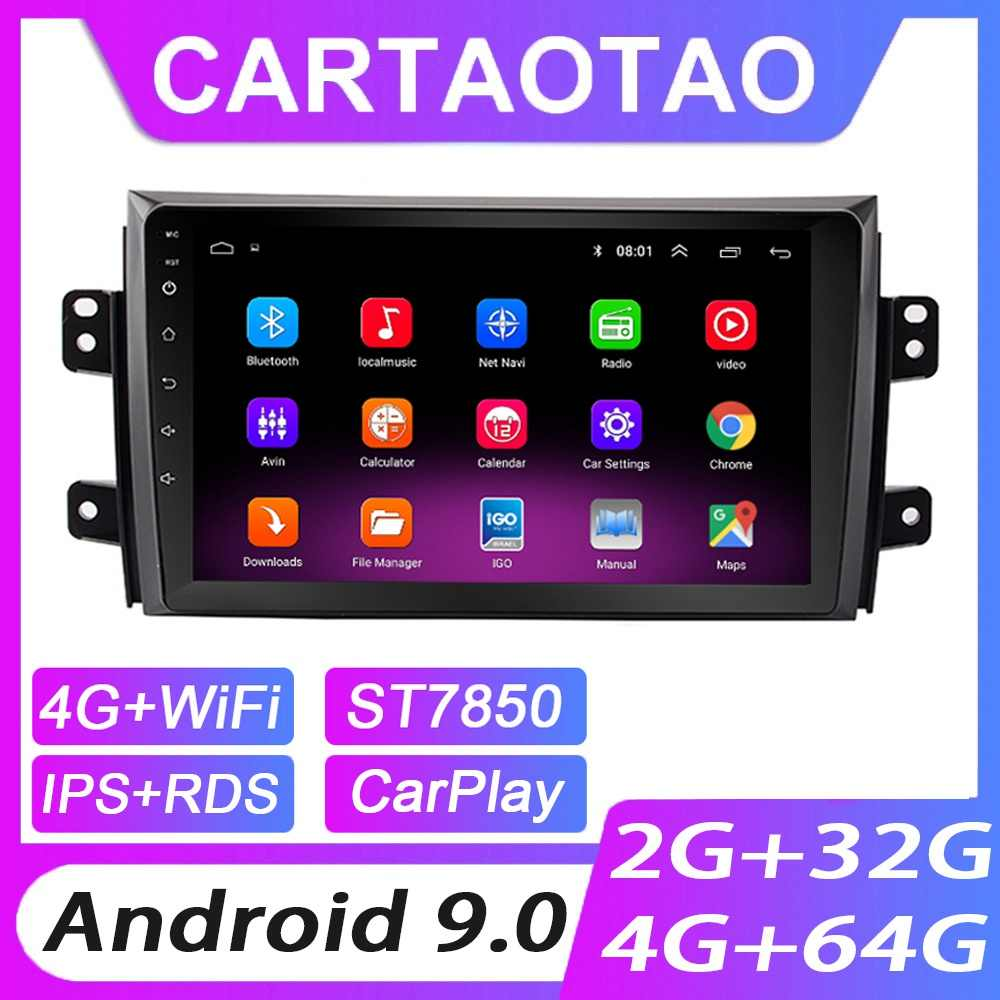 4G + 64G Android 9.0 Mobil DVD Player untuk Suzuki SX4 2006 2007-2013 Mobil Radio GPS navigasi WIFI RDS IPS Multimedia Player 2din