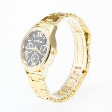 0129 Gold Circle Watchcase Fake Three-Eyed Roman Numerals Measuring Surface Fashion Steel Watch Men's