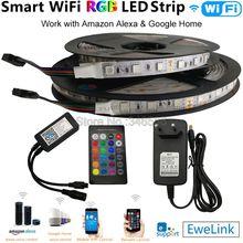 Tira Flexible de luces LED RGB de 5m, 10m, 12V, 5050, eWelink, WiFi, mando a distancia inteligente, Alexa, Google Home, Control por voz y juego de alimentación