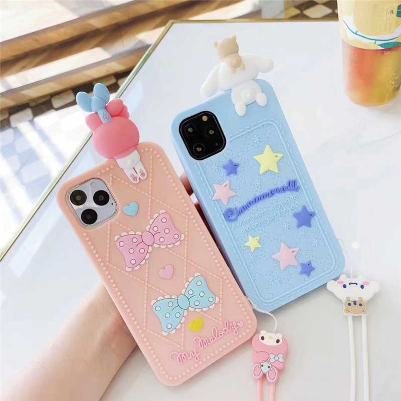 Japan Cartoon Leuke Kat My Melody Case Voor Iphone 11 Pro X Xr Xs Max 7 8 6 S Plus 3D Pop Cinnamoroll Soft Silicon Lanyard Cover