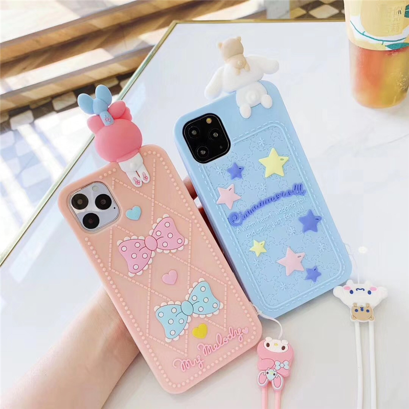 Japan Cartoon Cute cat My Melody <font><b>Case</b></font> for <font><b>iphone</b></font> 11 Pro <font><b>X</b></font> XR XS MAX 7 8 6s plus <font><b>3D</b></font> doll Cinnamoroll Soft <font><b>Silicon</b></font> lanyard cover image