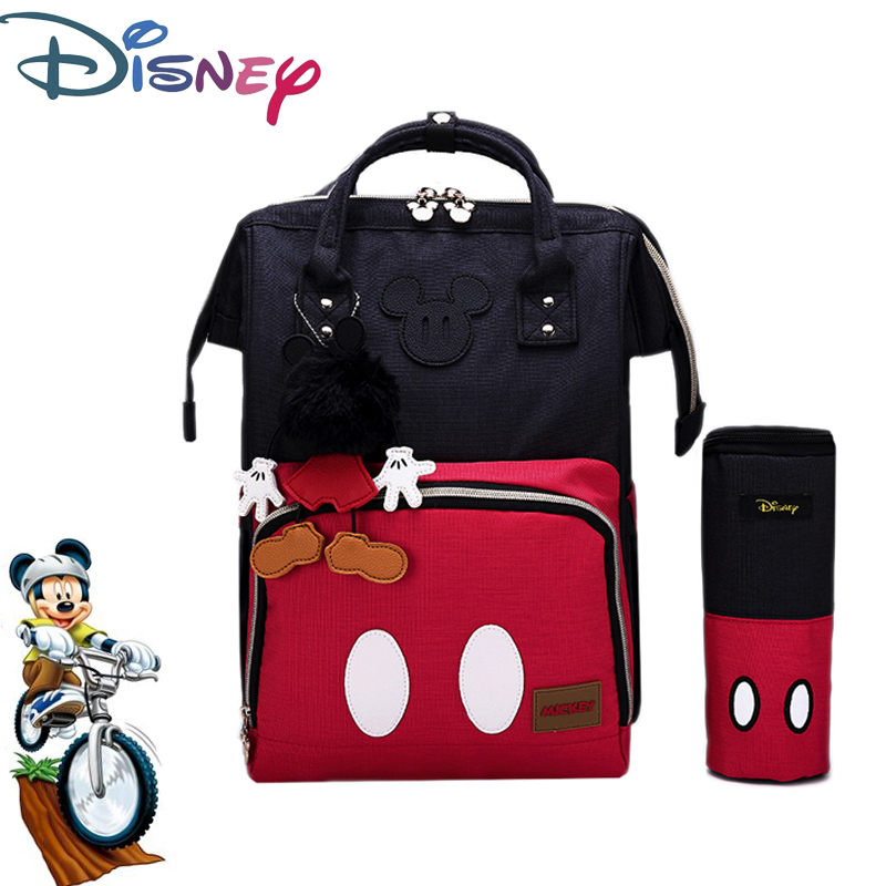 Disney Minnie Mickey Baby Diaper Bag USB Waterproof Fashion Mummy Maternity Nappy Bag Large Capacity Nappy Bag Backpack Cartoon